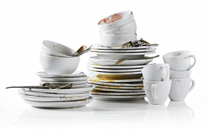 Dirty dishes ready for dishwasher