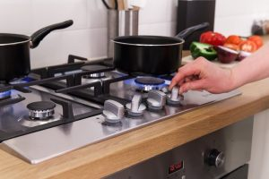 Installed stainles steel gas hob